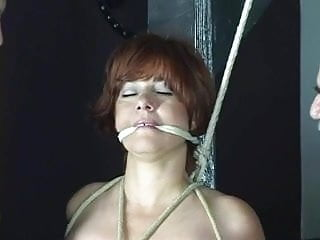 Sub sex slaves - Red head sub gets her arms and tits bounded