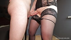 Teacher in stockings and heels gives thigh job and cums in her panties