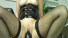 Busty mature fucking enormous dildos