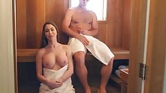 Cute amateur mom has sauna sex