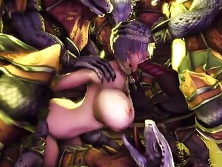 Lizards masturbate - 3d big boobs chick gets brutal fuck from lizard squad