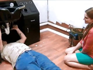 Young adorable twinks Adorable girl helping old repairman