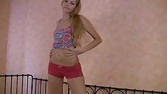 skinny teen toying her twat