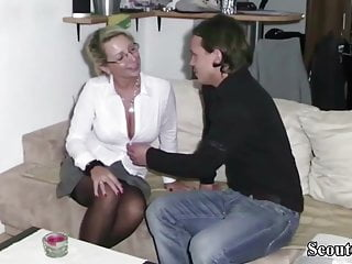 Mother and son fucking German step-son get first fuck by mother and cum twice