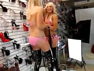 Sensational bikini girls gallery - Pvc thigh high fetish boots pink bikini girls
