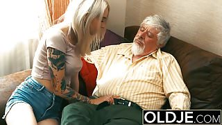 Old and Young Blonde Fucked by Old man tight pussy cock