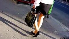 Street voyeure pantyhose MILF legs from the web