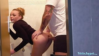 Public Agent Multiple orgasms as tight pussy stretched