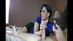 mom watches while giving a handjob