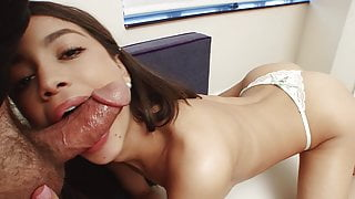 She sucks my dick first time ever on camera