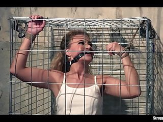 Twink bound gagged - Cute babe caged bound gagged stripped vibed
