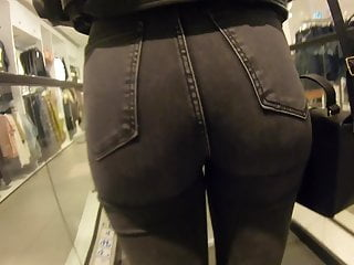 Candid Teen Black Tight Jeans Busted At End XhNdnFW