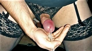 Crossdresser Edges Leaking Cock To Huge Cumshot