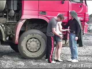 Teen pinky site - Construction site public gangbang with a young pretty girl