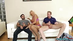Big Titted Milf Sucks Two Dicks In Threesome