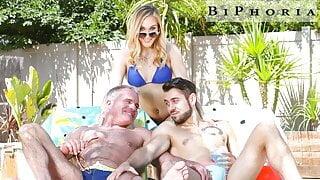 BiPhoria - Muscle DILF Seduces Married Couple Next Door