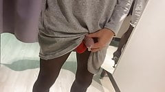 Masturbating in the changing room while shopping