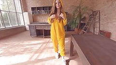 Perky Tits Russian Chick in a Costume Striptease
