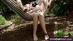 Randy hairy lesbian girls lick each other
