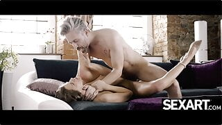 Sexy brunette sucks and fucks her older lover's cock eagerly