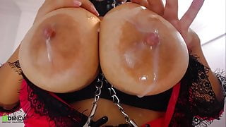 Latina squirts milk everywhere with her huge udders