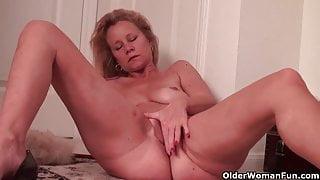 Busty soccer mom needs a masturbation break from housework