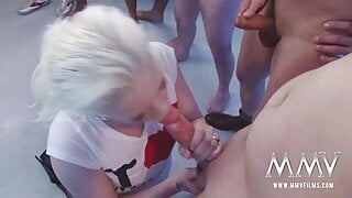 Platinum blonde hoe gets bukkaked
