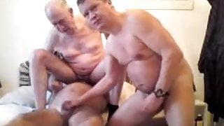 Three gay older grandpa sucking each other penis