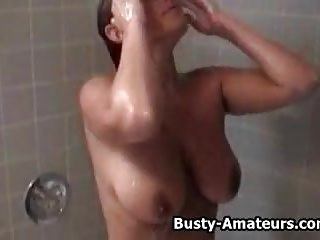 Naked naughty busty girls - Busty amateur leslie getting naughty on the shower