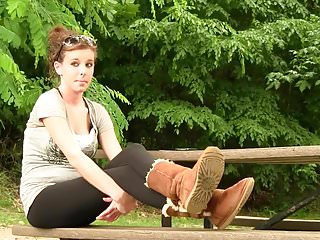 Ugg spanked - Amy in uggs shoeplay front