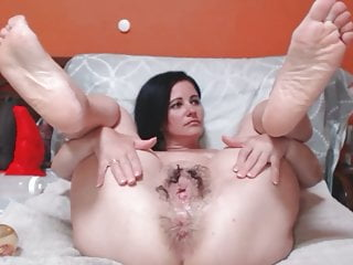 Fist a pussy hole Hot milf plays with her holes and fisting anal pussy squirt