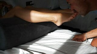 Cum on Selena's feet