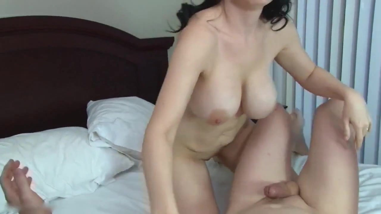 Wife fucks dildo on our bed