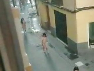 Women walking naked in the city Nude walk in the city