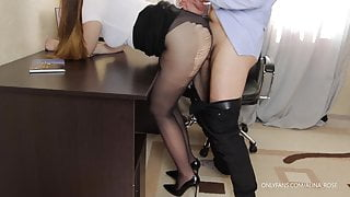 Teen secretary in pantyhose and high heels fucks - cum on legs