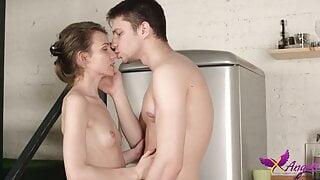 TeenMegaWorld - Nelya - Couples enjoying orgasms on kitchen