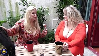 Big busty step mothers lick and fuck each other