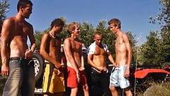 Camp Site Euro Hotties Jacking, Sucking, and Cumming