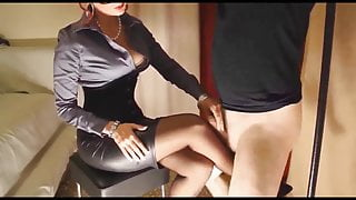 Tied sissy rubbing cock on Mistress's nylons.