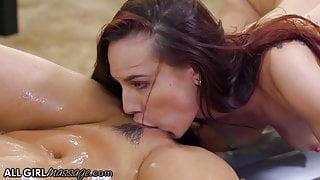 AllGirlMassage Aidra Fox & Eliza Ibarra Body Slide with Nuru