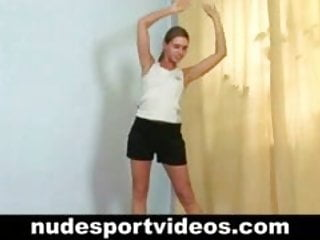Skinny naked Skinny girl does naked stretching exercises