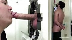 Sexy bearded guy cums twice at the gloryhole