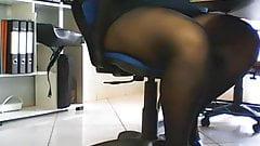 Hidden cam under desk in office, spies on amateur secretary