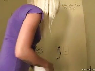 Gloryhole cock worship Hot blonde sucks bathroom gloryhole cock