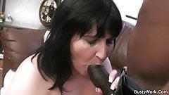 Brunette bbw enjoys big black cock