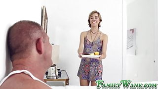 Filthy stepdaughter gives her dad the best present ever