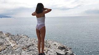 Rough Sex with Hot Stepsister, PUBLIC OUTDOOR BLOWJOB