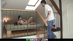 Horny cheating gf spreads legs for her brother