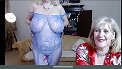 Two blonde grannies - blue red lingerie part 2