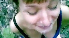 Messy surprise amateur facial